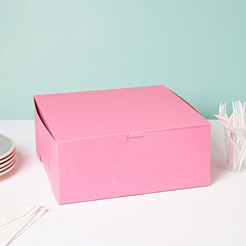 Lot of 10 Bakery or Cake Box PINK 12x12x5 (Cardboard Cake Boxes)