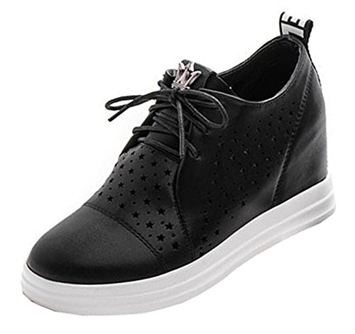 Chfso Kvinna Elegant Solid Rund Tå Urholka Spetsar Högt Kilklack Mode Sneakers Svart