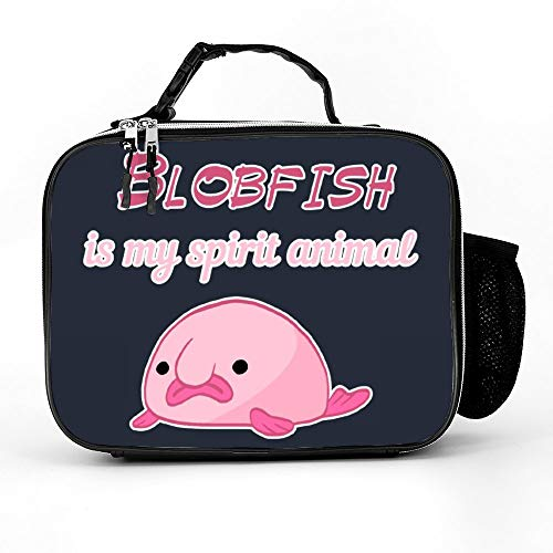 Welkoom Lunch Bag With Blobfish Is My Spirit Animal Funny Meme Ocean Fish Gift Water Proof Lunch Box|Durable Thermal Lunch Cooler Pack With Strap For Boys Men Women Girls -