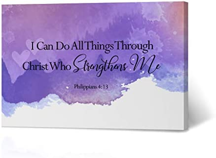HB Art Design I Can Do All Things Through Christ Who Strengthens Me Philippians 4:13 Bible Verse Scripture Quote Inspirational Christian Wall Art Canvas Print Living Room Decor Ready to Hang 24×36