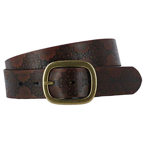 (Roper Women's Embossed Buffalo Leather Belt Brown)