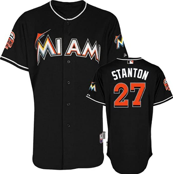 f877db08b Amazon.com   Giancarlo Stanton Jersey  Alternate Black Authentic Cool Base  27  Miami Marlins Jersey With Marlins Park Inaugural Season Patch   Sports Fan  ...