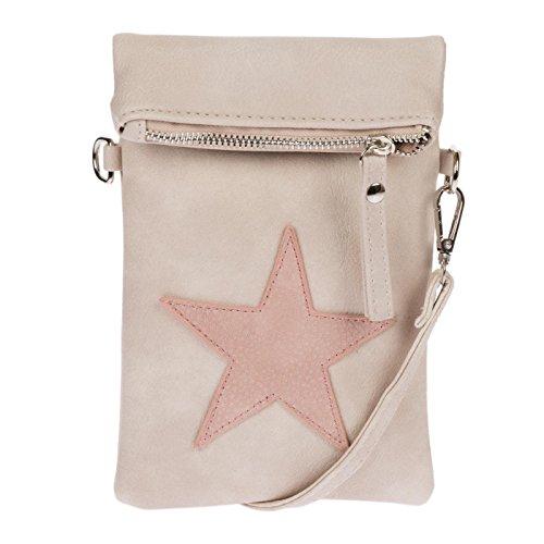Kossberg Damen klein small Tasche Handtasche mit Stern Umhängetasche Schultertasche Rosa Beige , Borsa Messenger  beige Rosa Beige