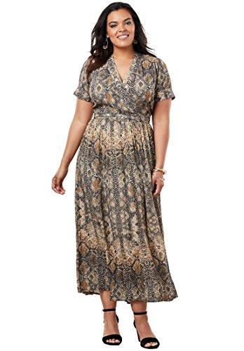 Roamans Women\'s Plus Size Maxi Wrap Dress
