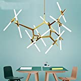 Industrial Chandelier Modern Metal Acrylic Branch Pendant Lamp Light Ceiling Fixtures for Living Room Dining Room Lighting (20-Light Gold) Review