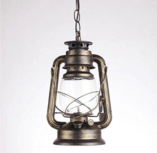 Retro Lanterne Pendant Lighting Metal Glass Shade Kerosene Ceiling Light Pendant Lamp,Bronze Finish