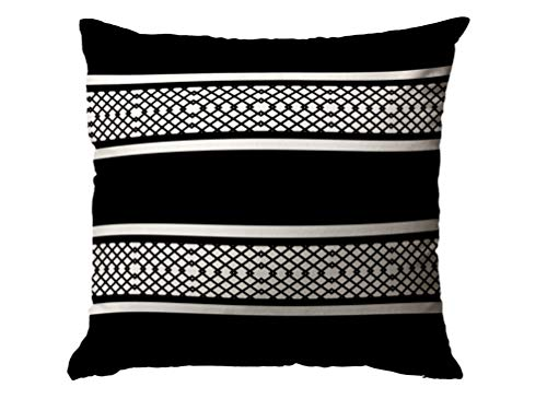 Christmas Cotton Case Cover with Zippered Inside for Home Sofa Decorative Throw Cushion Covers Décor House,16X16Inches Black White Striped