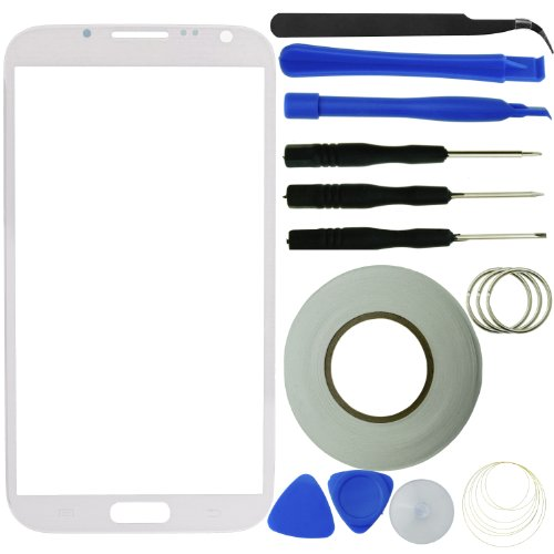 Eco-Fused Glass Screen Replacement compatible with Samsung Galaxy Note 2 including Screen Glass/ Tweezers / Tool Kit / Microfiber Cleaning Cloth