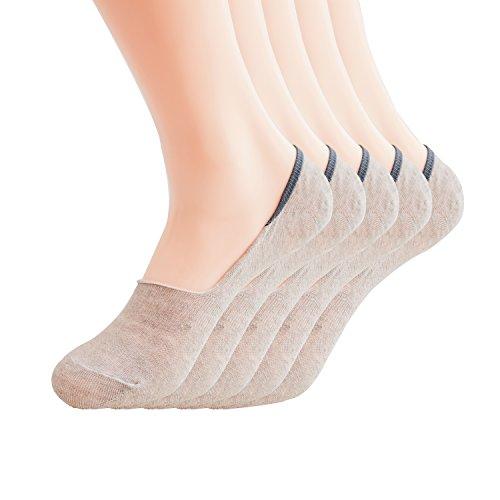 Max Resource Organic Linen No-Show Socks Low Cut Socks Casual Socks Non Slip Women's 5-Pairs(Natural/Undyed, Free -