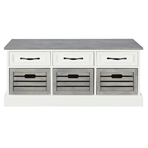 BOWERY HILL Storage Bench in White and Weathered Gray