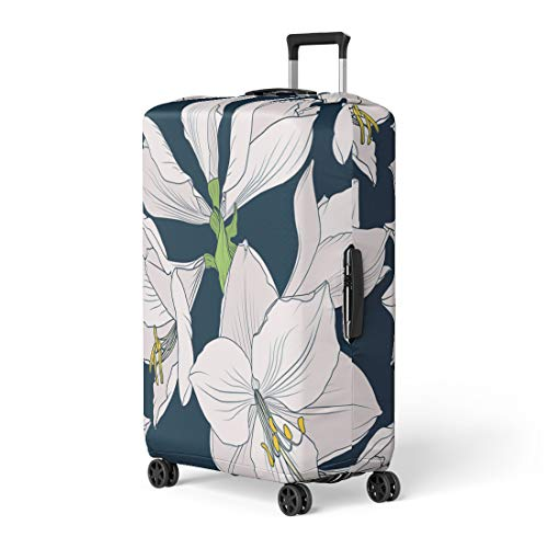 Pinbeam Luggage Cover Hippeastrum Amaryllis Lilly Blooming Flowers Beige Pink Travel Suitcase Cover Protector Baggage Case Fits 26-28 inches