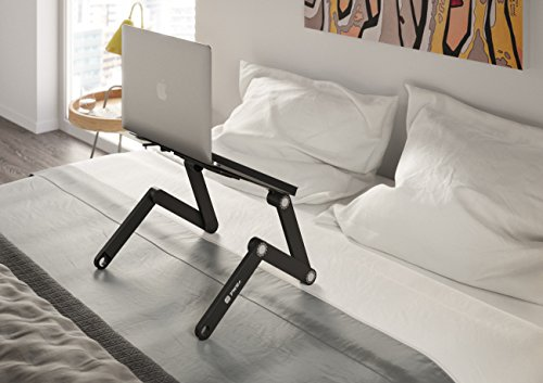 Pwr+ Laptop Table Stand Adjustable Riser: Portable with Mouse Pad Fully Ergonomic Mount Ultrabook Macbook Notebook Light Weight Aluminum Black Bed Tray Desk Book Fans Up to 17″
