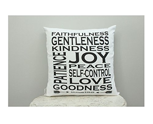 Fruit of the spirit pillow cover 16x16 inch modern hipster accessory home décor nursery baby gift present zipper closure canvas ready to ship Christmas gift