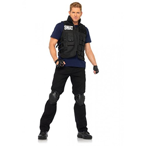 [Mememall Fashion SWAT Commander Vest Shirt Knee Pads Gloves 4 Pc Halloween Costume Cosplay Mens] (Wicked Jester Deluxe Adult Mens Costumes)