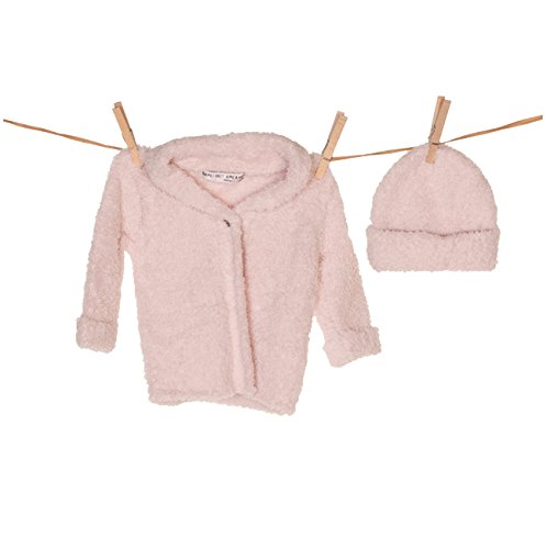 Barefoot Dreams CozyChic (Bamboo) Cardigan & Hat (Small, Pink)