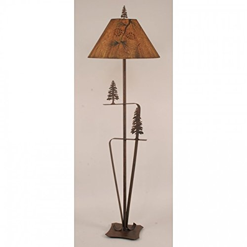Pine Tree Floor Lamp - Coast Lamp Manufacturer 12-R33D Rust 2 Trees Floor Lamp with Pine Branch Shade - 66 in.