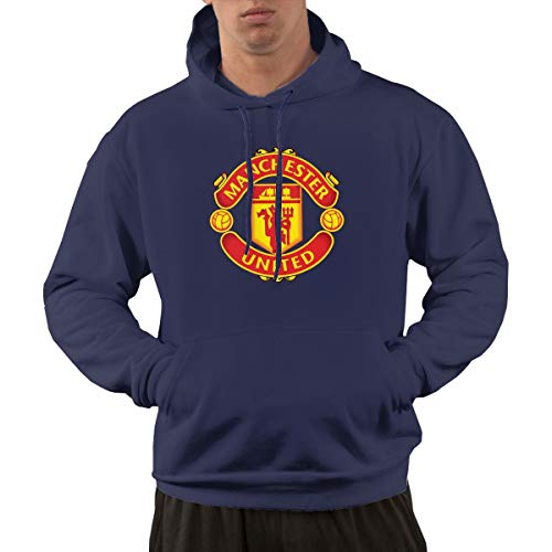 Manchester United FC Drawstring Pockets Pullover Hoodie Hooded Sweatshirt for Mens