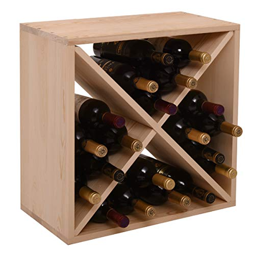 GMNEW Wood Wine Rack Cube 24 Bottles Storage Holder Organizer Stackable Wine Stand for Bar, Wine Cellar, Basement, Home Kitchen