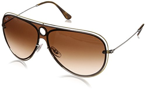 Ray-Ban RB3605N Aviator Sunglasses, Silver & Gold/Brown Gradient, 0 mm ()
