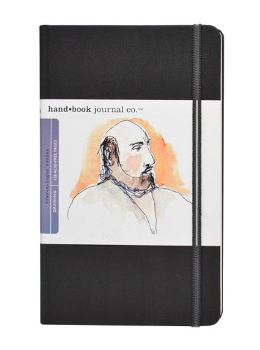 Travelogue Drawing Book, Large Portrait 8-1/4 x 5-1/2, Ivory Black Artist Journal