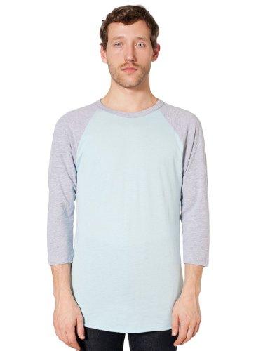 American Apparel Poly-Cotton 3/4 Sleeve Raglan Shirt - Light Blue / Heather Grey / S