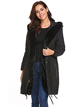 Amazon.com: Soteer Women Thicken Warm Winter Coat Hood Parka Long ...