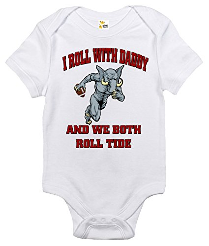 Alabama Baby Clothes (I Roll With Daddy and We Both Roll Tide Baby Bodysuit Cute Baby Clothes Alabama (3-6 Months, White))
