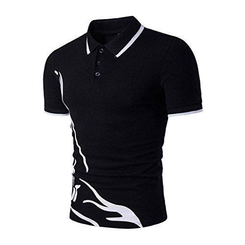 Hot Men Shirt,Summer Sports Shirt Slim Fit Short Sleeve Polo Shirt Print Tee Tops Axchongery (S, (Drum Set Mens T-shirt)