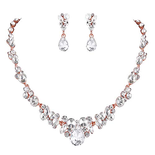 EVER FAITH Rhinestone Crystal Bridal Floral Teardrop Necklace Earrings Set Clear Rose - Tone Rhinestone Vintage Gold Clear