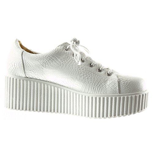 Pelle Donna Coccodrillo Sneaker Serpente Zeppe Bianco Tacco Scarpe Di Moda 6 Zeppa Cm Piattaforma Angkorly wIUFXxqx
