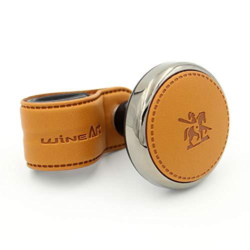 Leather Power Handle Knob Handle Steering Wheel Car Accessories BLACKSUIT (Orange Brown) Brown Leather Wrapped Handles