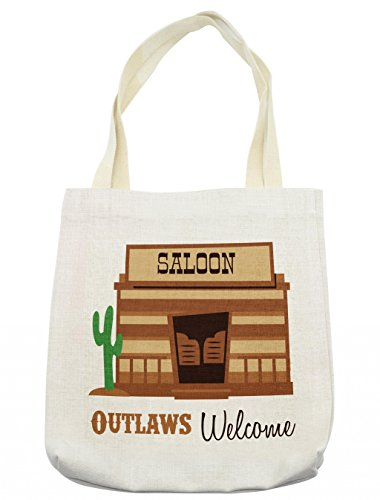 Western Female Outlaw Costumes - Lunarable Western Tote Bag, Cowboys Saloon