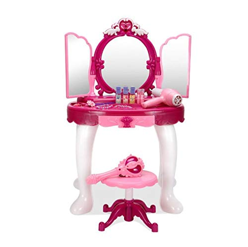 sogoog Girls Make Up Dressing Table, Glamorous Princess Dressing Table with Stool, Mirror, Hair Dryer, Make-Up Table Toy Play Set by sogoog (Image #4)
