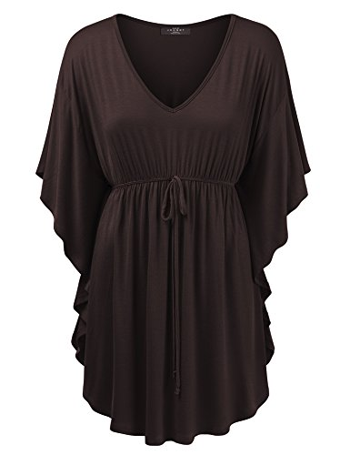 - Made By Johnny MBJ Womens V Neck Short Sleeve Dolman Tunic with Drawstring Detail L Brown