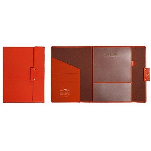 "Professional Portfolio Briefcase File Folder File Organizer with Flap-Top Snap Closure, Premium Quality File Envelope Folder, A4 Documents Holder, Padfolio 12.79""X9.25"" (Dark Orange) ()"