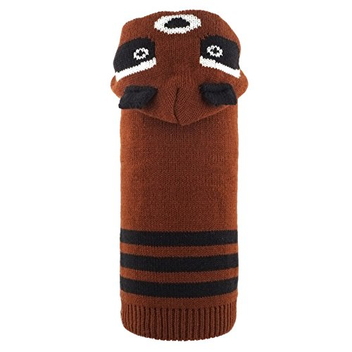 The Worthy Dog 5572 Ricky The Raccoon Hoodie, Brown, XS