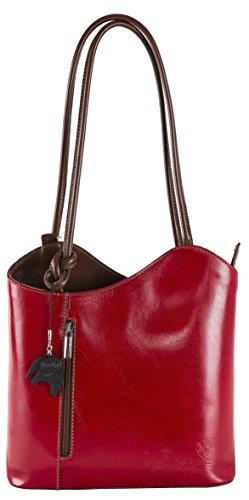 BHBS Bolso para Dama para Llevar al Hombro o como Mochila en Auténtica Piel italiana 31x28x8 cm (LxAxP) Rojo marrón recortar
