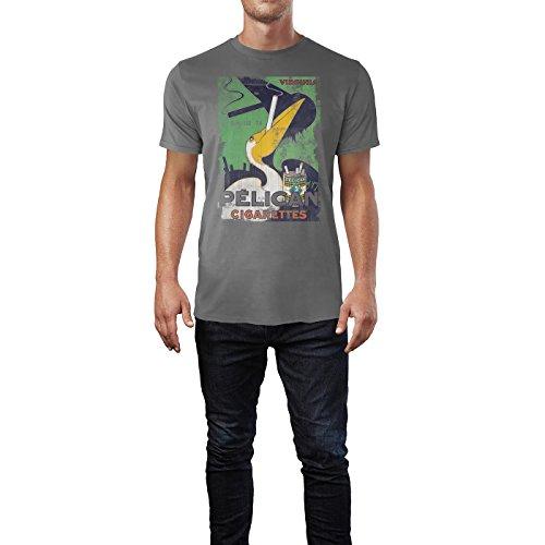 SINUS ART® Pelican Cigarettes Herren T-Shirts graues Cooles Fun Shirt mit tollen Aufdruck
