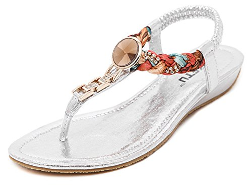 Fortuning's JDS Bohemia Rhinestone weave thongs sandals for women Silver Vhgny