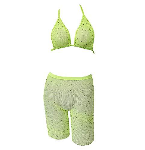 lisenraIn Women Two Piece Lingerie Fishnet Swimwear Rhinestone See Through Clubwear Bikini Top and Shorts Set (Green)