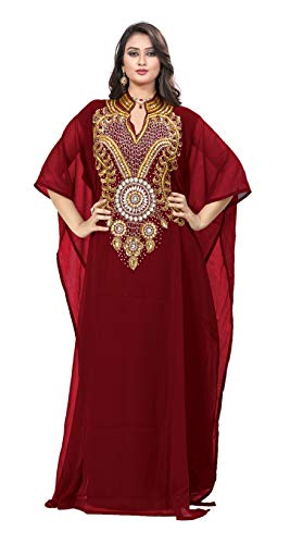 KoC Women's Kaftan Maxi Dress Farasha Caftan KFTN116-Maroon