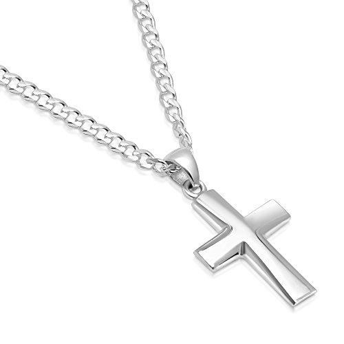 Sterling Silver Plain Cross Pendant Italian Made 3mm Curb Chain Necklace - 080 3mm - (Plain Curb Chain)