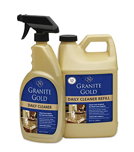 Granite Gold Daily Cleaner Spray And Refill Value Pack - Streak-Free Stone Cleaning Formula, Made In The USA (Best Granite Polish And Sealer)