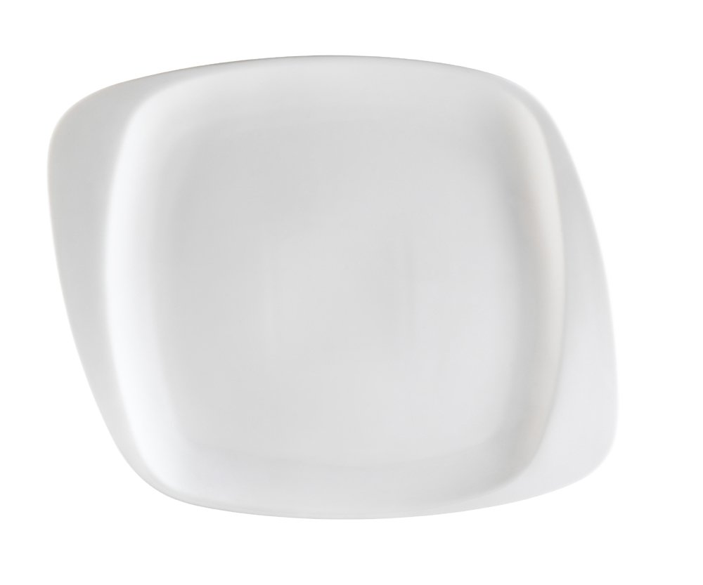 CAC China WH-9 White Pearl 9-1/2-Inch by 8-1/2-Inch by 5/8-Inch New Bone White Porcelain Square Plate, Box of 24