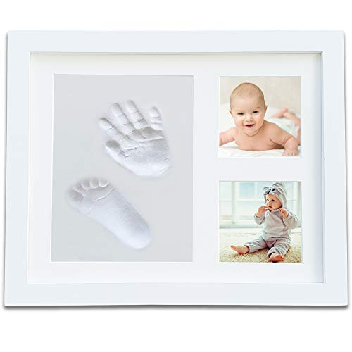 (Baby Handprint Footprint Photo Frame Kit | Complete Keepsake Kit for Newborn Baby, Baby Shower Gifts | Classic Cream White Color for Boys and Girls | 3 Openings for Casting,)