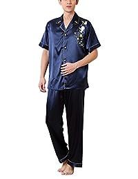 Men Pajamas Satin Silk Pajama Sleepwear Set Short Sleeve with Long Pants