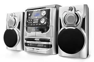 Dual MP 301 - Cadena de música (tocadiscos, pletina para casetes, reproductor CD/MP3, radio, USB, lector de tarjetas SD, 75 Ohm), color plateado (importado)
