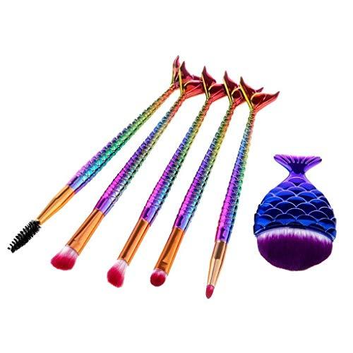 6PCS Mermaid Tail Eyeshadow Eyelash Contour Powder Blush Makeup Brushes Kit