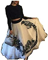 Hirva Collections Women's Georgette Lehenga Choli (Sonam Kapoor Cholis_Black And White_Free Size)