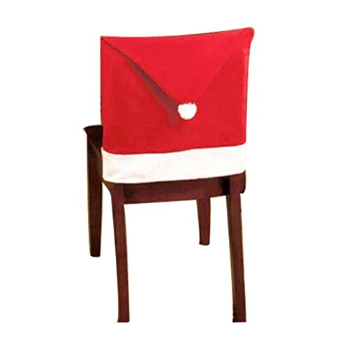 Christmas Chair Covers,Elevin(TM)Santa Red Hat Chair Covers Celebrate Christmas Decorations Dinner Chair Xmas Cap Sets (8)
